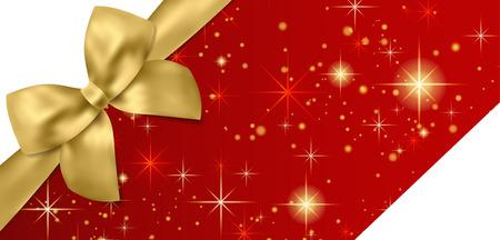 Gutschein, Geschenkgutschein, Gutscheinvorlage. Goldschleife, Band auf rotem Hintergrund mit funkelnden Sternen. Leere Vektor-Design-Geschenkkarte