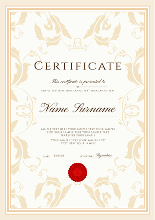 Certificate template, frame border. Design for Diploma, certificate of appreciation, certificate of achievement, certificate of completion,of excellence, of attendance template, award template