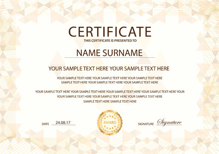 Certificate template with gold emblem.  Design for Diploma, certificate of appreciation, certificate of achievement, certificate of completion, of excellence, of attendance template, award template Illustration