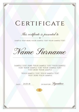 Certificaatsjabloon met framerand en patroon. Ontwerp voor diploma, certificaat van prestatie, certificaat van voltooiing, certificaat van waardering, van uitmuntendheid, sjabloon voor aanwezigheid, onderscheiding