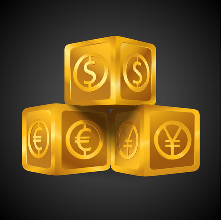 Isolated golden cube pyramid with world major currencies US dollar sign, euro, Japanese yen icon. Gold 3d object (box, Goldmine) on black background, wealth business concept idea