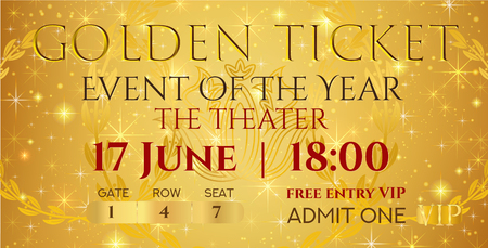 Golden ticket template, Concert ticket (ticket mockup) on gold starry glitter background. Useful for any festival, party, cinema, event, entertainment show