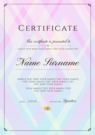 Plantilla de certificado con borde de marco y patrón. Diseño para Diploma, certificado de logros, certificado de finalización, certificado de reconocimiento, de excelencia, plantilla de asistencia, premio