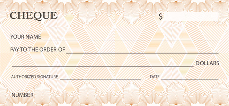 Check (cheque), Chequebook template. Guilloche pattern with abstract watermark. Background for banknote, money design, currency, bank note, Voucher, Gift certificate, Money coupon, ticket Vectores