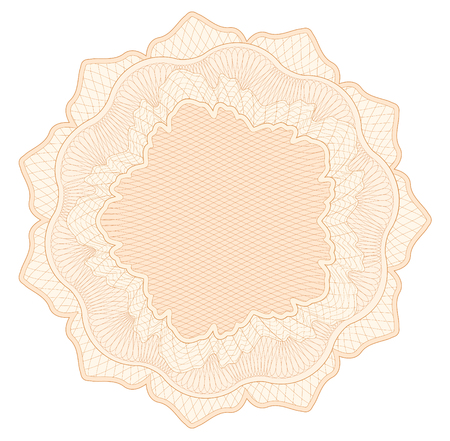Guilloche pattern, watermark, rosette (line elements) for money design, voucher, currency, gift certificate, coupon, banknote, diploma, check, note Vektorové ilustrace