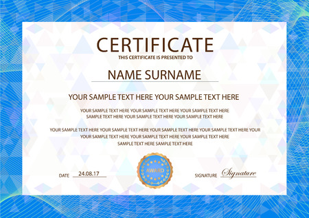 Certificate template, blue Guilloche frame border.  Design for Diploma, certificate of appreciation, certificate of achievement, certificate of completion, of excellence, of attendance template, award