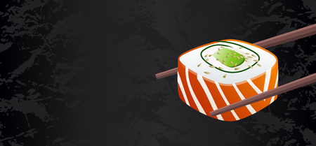 Smoked salmon classic sushi roll piece vector with chopsticks isolated on black textured background with blank copy space. Useful for sushi bar restaurant menu flyer, voucher, gift coupon, banner Illustration