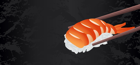 Shrimp sushi piece vector with chopsticks isolated on black textured background with blank copy space. Useful for sushi bar restaurant menu flyer, voucher, gift coupon, banner