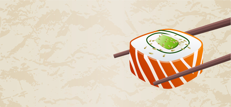 Smoked salmon classic sushi roll piece vector with chopsticks isolated on light textured background with blank copy space. Useful for sushi bar restaurant menu flyer, voucher, gift coupon, banner Illustration