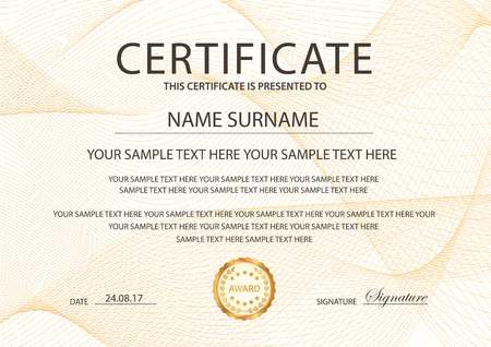 Certificate template with Guilloche pattern, frame border.