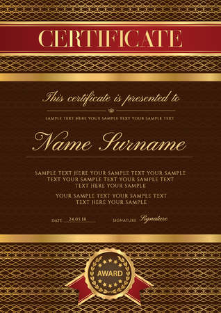 Certificate vector vertical luxury template. Secured lux gold border Guilloche pattern for Diploma,deed,certificate of appreciation,achievement, completion,credential  design. Red ribbon, award emblem Illustration