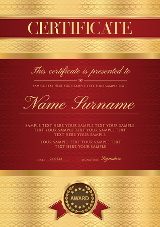 Certificate vector vertical template. Secured gold border Guilloche pattern for Diploma, deed, certificate of appreciation, achievement, music award, completion design. Red ribbon, maroon emblem