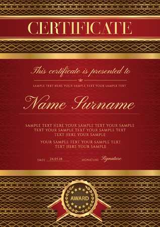 Certificate vector vertical template. Secured gold border Guilloche pattern for Diploma, deed, certificate of appreciation, achievement, completion design. Red ribbon, award emblem