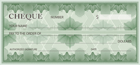 Check, Cheque (Chequebook template). Guilloche pattern with abstract floral watermark, border. Green background for banknote, money design, currency, bank note, Voucher, Gift certificate, Money coupon