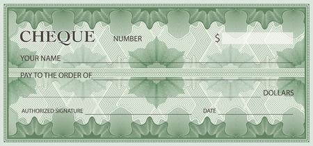 Scheck, Scheck (Scheckheft-Vorlage). Guillochemuster mit abstraktem Blumenwasserzeichen, Grenze. Grüner Hintergrund für Banknote, Gelddesign, Währung, Banknote, Gutschein, Geschenkgutschein, Geldgutschein