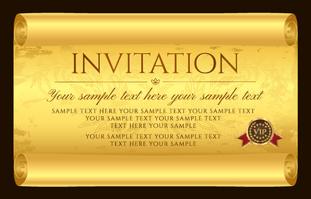 Invitation design. Medieval old vintage scroll parchment paper. Charter (aged sheet) with grunge texture and seal wax. Template for invite card, diploma, gift certificate, love letter, old yellow map