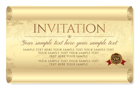 Invitation design. Medieval old vintage scroll parchment paper. Charter (aged sheet) with grunge texture and seal wax. Template for invite card, diploma, gift certificate, love letter, old map