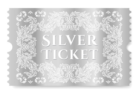 Silver ticket illustration. Template for Cinema pass, show, concert or any events invitation Vetores