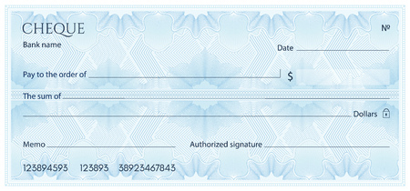 Check, Cheque (Chequebook template). Guilloche pattern with abstract floral watermark, border. Blue background for banknote, money design, currency, bank note, Voucher, Gift certificate, Money coupon