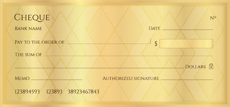 Cheque, Check, Chequebook template. Guilloche pattern with abstract geometric watermark. Golden background for banknote, money design, currency, bank note, Voucher, Gift certificate, Money coupon
