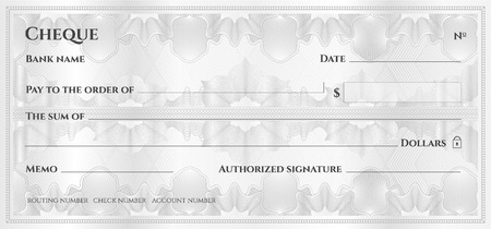 Check, Cheque (Chequebook template). Guilloche pattern with abstract floral watermark, border. Silver background for banknote, money design,currency, bank note, Voucher, Gift certificate, Money coupon