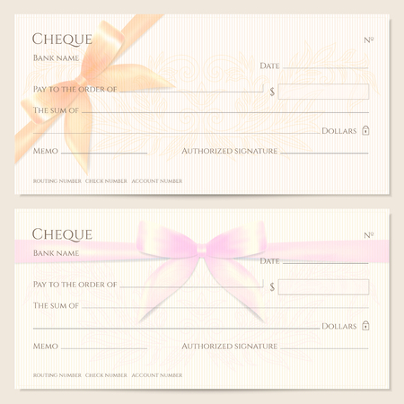 Check, Cheque (Chequebook template). Floral pattern with orange, pink bow, ribbon. Background for Gift Voucher, Gift certificate design, currency, Holiday bank note, Christmas Money coupon