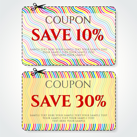 Discount Coupon, Voucher vector. Stripe background template with colorful, rainbow line pattern. Save money tag 10 off, 30 off. Promo voucher design 向量圖像