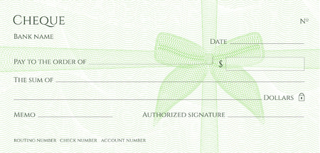 Check, Cheque (Chequebook template). Guilloche pattern with green bow watermark. Background hi detailed for banknote, money design, currency, bank note, Voucher, Gift certificate, Money coupon