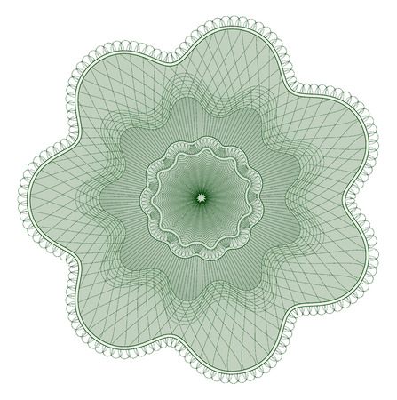 Guilloche pattern, watermark, rosette (line elements) for money design, voucher, currency, gift certificate, coupon, banknote, diploma, check, note Vektoros illusztráció