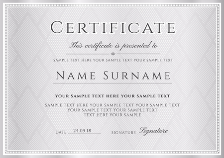 Certificate template, silver frame border. Gray design for Diploma, certificate of appreciation, certificate of achievement, certificate of completion, of excellence, of attendance template, award