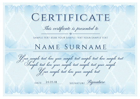 Certificate template. Blue formal border Guilloche pattern for Diploma, deed, certificate of appreciation, achievement, completion,warranty, attendance, award plaque design. Illustration