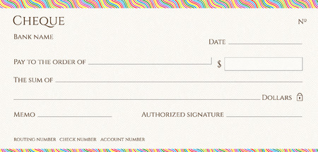 Check, Cheque (blank Chequebook template). Guilloche pattern with abstract colorful line border. Rainbow background for banknote, money design, currency, Voucher, Gift certificate, Money coupon Illustration