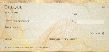 Check, Cheque (Chequebook template). Guilloche pattern with abstract line  watermark, border. Gold background for banknote, money design,currency, bank note, Voucher, Gift certificate, Money coupon Illustration