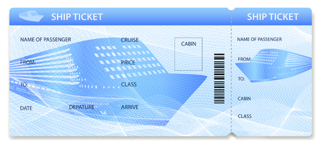 Vector Ship ticket (template / layout). Travel by Cruise liner (Transport). Enjoy your vacation. Isolated illustration on white background