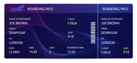 Boarding pass (airplane ticket, traveler check template). Vector Aircraft (plane) pass on blue background. Night flight travel by Aerial Transport. Enjoy your vacation. Isolated vector on white