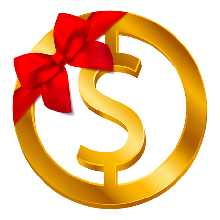 Vector money dollar sign (Dollar coin icon) with red bow, ribbon isolated on white background. Gift Golden USD coin symbol design, USA currency banking concept illustration