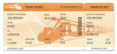 Vector billete de tren, diseño de pase de tren, cheque de viajero (plantilla / diseño) con tren sobre fondo naranja. Viaje en transporte ferroviario. Disfruta tus vacaciones. Vector aislado