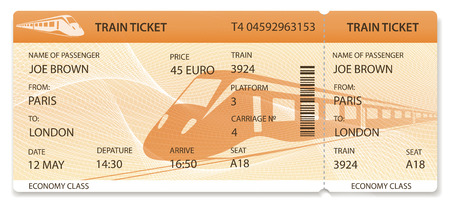 Vector Train ticket, Rail pass design, traveler check (template / layout) with train on orange background. Travel by Railway Transport. Enjoy your vacation. Isolated vector