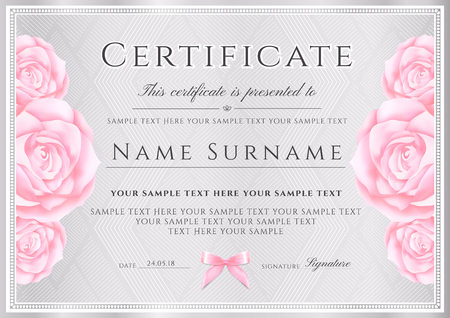 Certificate vector template. Silver triangle pattern background with border frame and rose flowers for Diploma, certificate of appreciation, excellence, attendance or invitation design