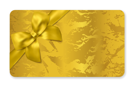 Gift card (Gift card discount), Holiday reward card, Blank Gift coupon with golden ribbon, gold bow and corrugated pattern. Background design for voucher template design, invitation, ticket. Vector