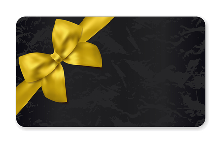 Gift card (Gift card discount), Holiday reward card, Gift coupon with gold bow, golden ribbon and black pattern. Blank background design (dark) for voucher template design, invitation, ticket. Vector Illustration