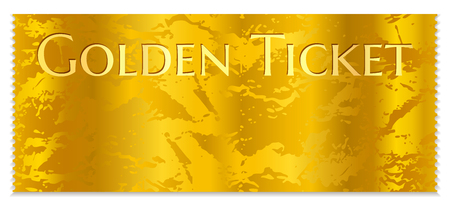Golden cinema ticket template. Concert ticket on gold background with corrugated pattern. Useful for any movie festival, party, film, event, entertainment show