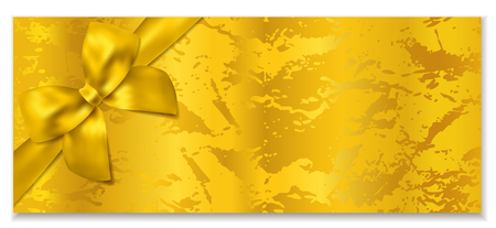 Golden ticket, Gift Certificate  Gift Voucher vector template. Holiday reward card design with corrugated golden background. Useful for Coupon, any festival, party, cinema, event, entertainment show