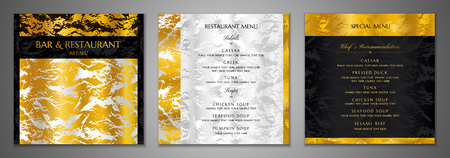 Design Restaurant Menu template. Gold, silver marble textured with back pattern (border). Elegant luxury cover useful for Cafe, bar Menu, wedding invitation. Vector mockup