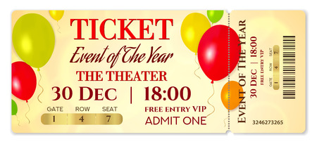 Admission ticket template. Vector mockup concert ticket (tear-off) with colorful air balloons on gold background. Useful for any festival, party, cinema, birthday event, entertainment show