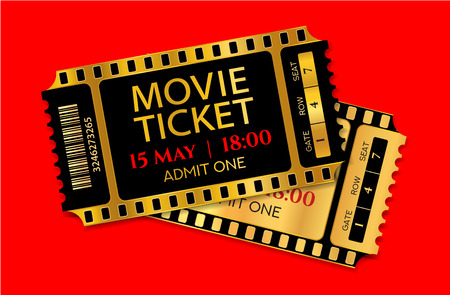 Admission movie ticket template. Vector mockup pass (tear-off) with gold and black film tape creative background design. Useful for cinema, music event, entertainment show, concert entry Illustration