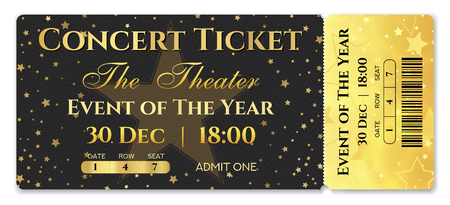 Admission ticket template. Vector mockup concert ticket (tear-off) with star magical black background. Useful for any festival, party, movie, cinema, birthday event, entertainment show Ilustração