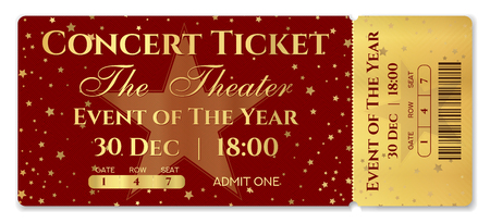 Admission ticket template. Vector mockup concert ticket (tear-off) with star magical red and gold background. Useful for any festival, party, movie, cinema, birthday event, entertainment show Illustration