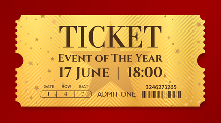 Admission golden ticket template. Vector mockup movie ticket (tear-off) with star gold background. Useful for any festival, party, concert, cinema, birthday event, entertainment show Ilustração Vetorial