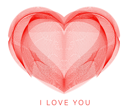 Line art heart. Abstract vector illustration of digital creative graphic love symbol. Romantic network icon on isolated white background with I love you sign